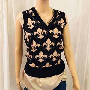 EXPRESS  Vest Lady's Black-Beige Wool V-Neck